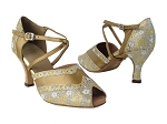 6035 238 Flower Print Gold Stardust_186 Copper Leather Trim