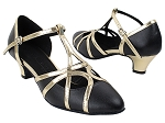SERA3541 Black Leather & Light Gold Trim