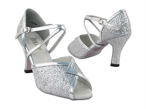 2721 Silver Sparklenet & Silver Leather Trim