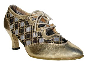 6823 Gold Leather & Silver Sq Mesh