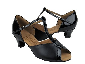 S2804 Black Leather & Black Patent & Cuban Heel