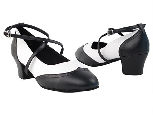 Swing001C Black & White faux Leather