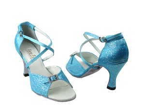 1636 104 Blue Flower Satin & Stone