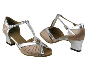 2707 Light Brown Satin_Silver PU Trim