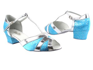 2712 104 Blue Flower Satin_Silver Leather Trim