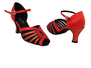 2719 112 Red Satin_10 Red Sparkle_T_H_Black Mesh