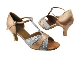 6016 Silver Sparklenet_Light Brown Satin