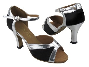 6024 Black Satin_Silver Leather Trim