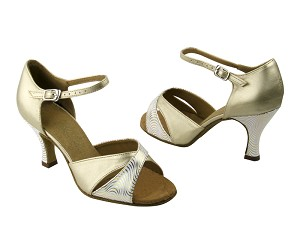 6029 180 White & Gold Wave & 163 Soft Gold Leather