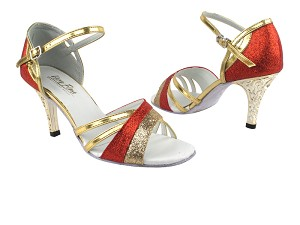 6030 Red Stardust_125 Gold Stardust_1706 BackStrap_3in Gold Flower Plated Heel
