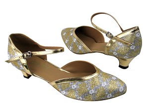 9621 238 Flower Print Gold Stardust_Gold Leather Trim