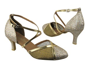 9622 Gold Sparklenet & 108 Mesh & Gold Leather Trim