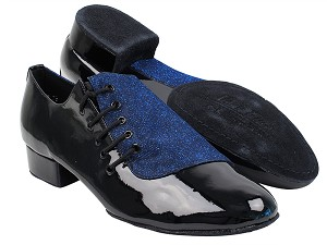 S2519 190 Glitter Dark Blue Satin_75 Black Patent PU
