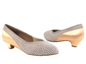CD5506 Grey & Tan Satin Cuban Heel