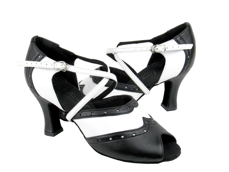 C6035 Black Leather & White Leather