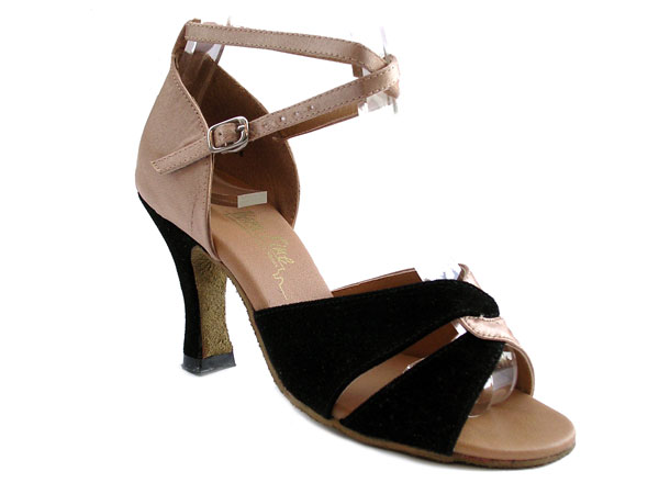 6002 Flesh Satin & Black Suede