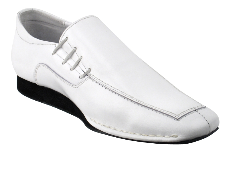 SERO102 White Leather with flat heel in the photo