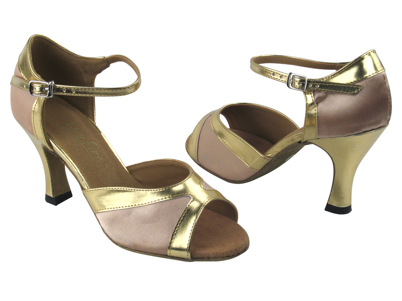 6024 Flesh Satin & Gold Leather Trim