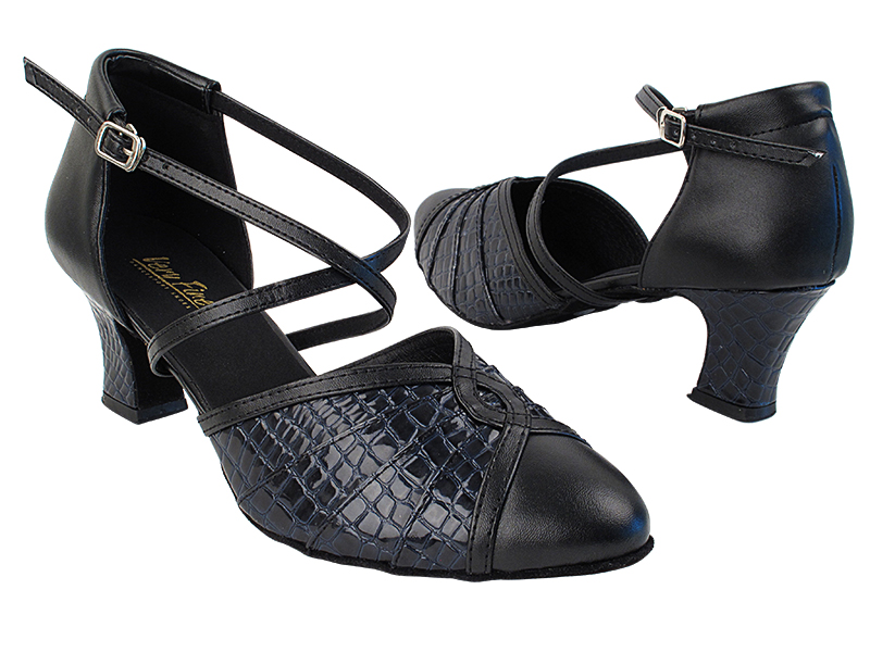 6825B 140 Black Leather_243 Purple Blue Crocodile_M_H with 2.2 inch Thick Cuban Heel in the photo