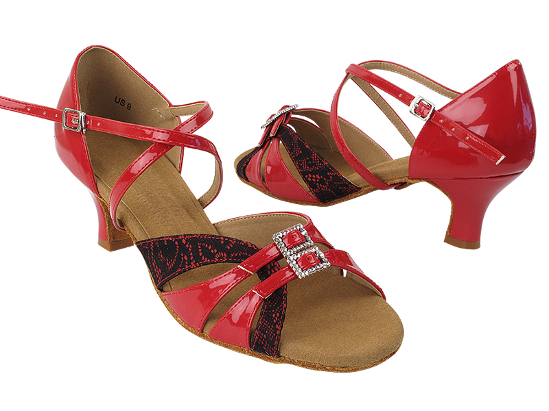 S92307 257 Red Black Lace_264 Red Patent with 2