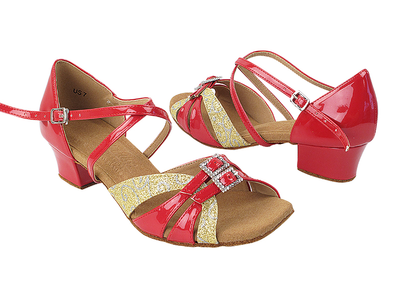 S92307 265 Gold Flower Glitter_264 Red Patent with 1.5