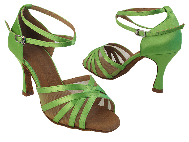 SERA2613 137 Green Satin_Flesh Mesh with (5059) 3 inch Flare Heel in the photo