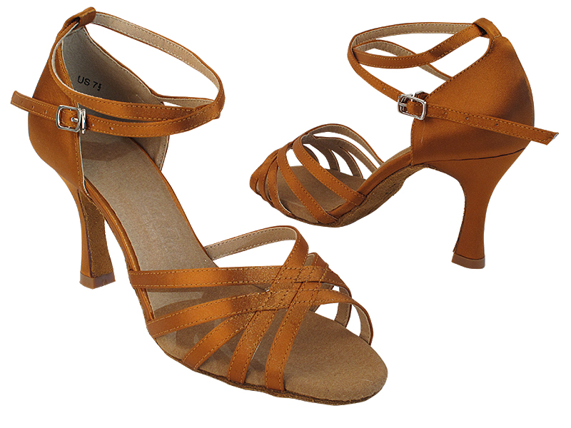SERA2613 210 Dark Tan Satin with (5059) 3 inch Flare Heel in the photo