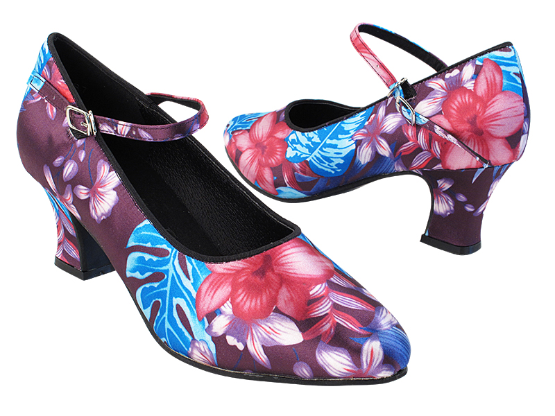 SERA5522 198 Blue Purple Flower Satin with 2.2 inch Thick Cuban Heel in the photo