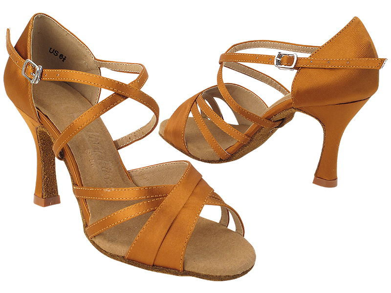 SERA6030 210 Dark Tan Satin_X-Strap Arch with (5059) 3 inch Flare Heel in the photo