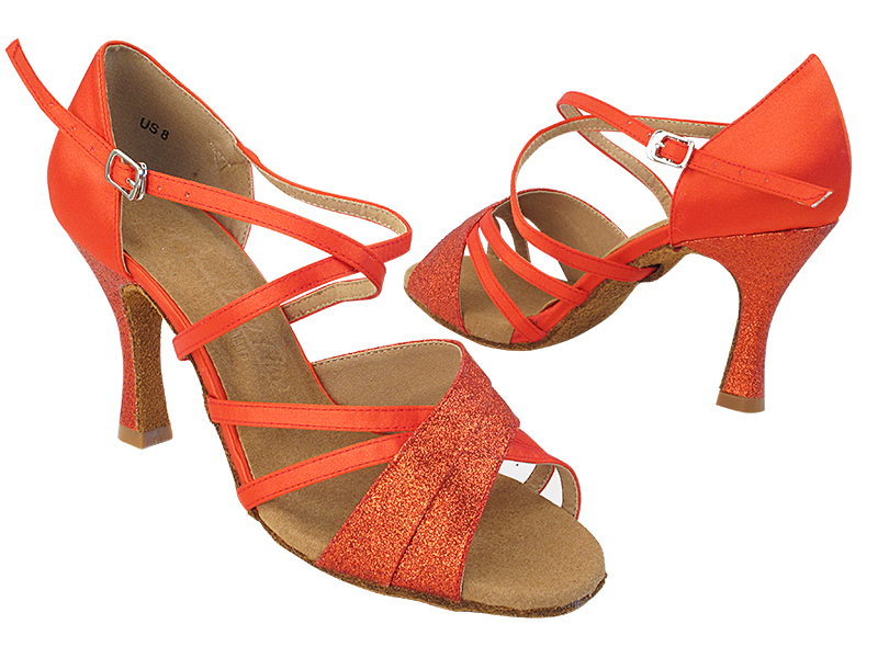 SERA6030 7 Red Stardust_T_H_118 Red Satin_S_B_X-Strap Arch with (5059) 3 inch Flare Heel in the photo