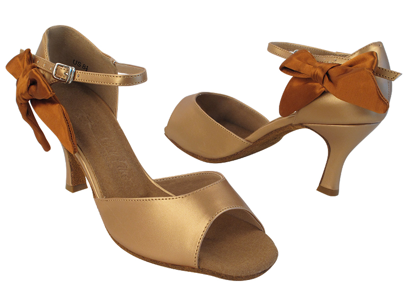 SERA7010 287 Copper Nude PU_301 Copper Tan Satin Bow with 2.75