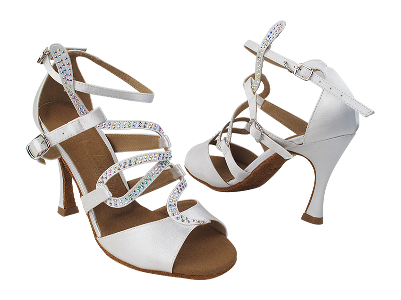 SERA7017 85 White Satin with (YTG 1173) 3.5 inch Heel in the photo