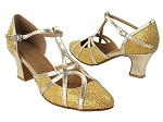 SERA3541 Gold Scale & Gold Trim Thick Cuban Heel