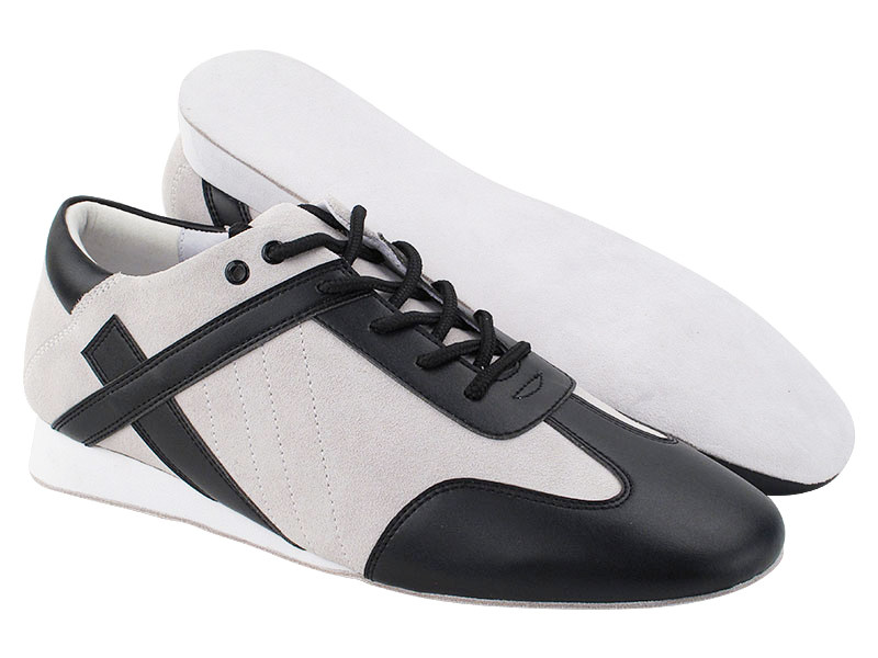 SERO106BBX Vintage White Suede & Black Leather Trim with flat heel in the photo