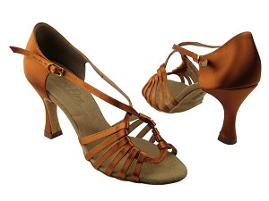 "C1661 Dark Tan Satin with 3"" Flare heel in the photo"