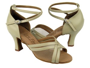"C5017 Beige Leather & Flesh Mesh with 2.5"" heel in the photo"