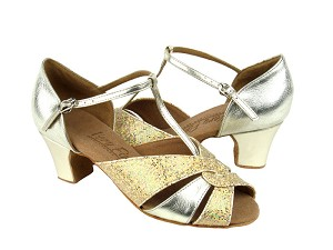 "C6006 Gold Leather & Gold Scale with 1.6"" medium heel in the photo"