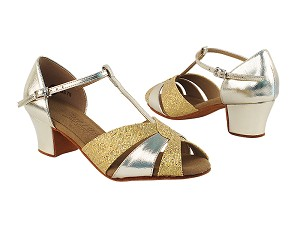 "C6006 Soft Gold_Gold Scale with 1.6"" Medium Heel in the photo"