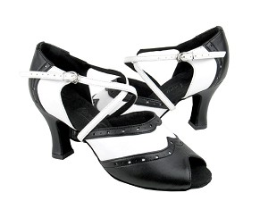 "C6035 Black Leather & White Leather with 2.5"" heel in the photo"