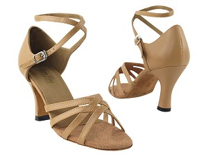 "1606 Beige Brown Leather with 3"" Heel in the photo"