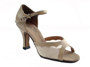 "1616 Tan Leather & Flesh Mesh with 3"" Heel in the photo"
