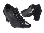 1643 Black Nubuck & Black Mesh & Thick Cuban Heel