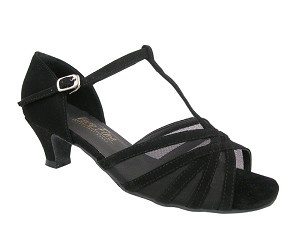 16612 Black Nubuck & Black Mesh & Cuban Heel