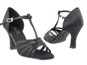 "16612 Black Satin & Black Mesh with 3"" Heel in the photo"