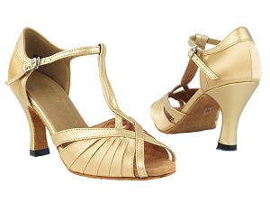 "2707 Light Brown Satin & Light Gold with 3"" Heel in the photo"