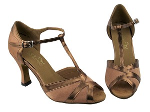 "2712 Brown Satin & Dark Tan Trim with 3"" heel in the photo"