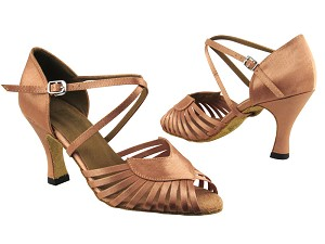 "2717 Brown Satin with 3"" Heel in the photo"