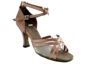 "5017 Brown Satin & Flesh Mesh with 3"" Heel in the photo"