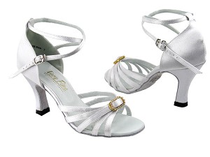 "6005 White Satin & Stone with 3"" Heel in the photo"