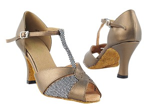 "6006 Copper Leather & Black Sparklenet with 3"" Heel in the photo"